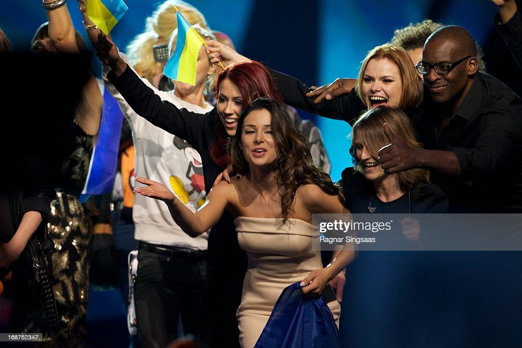. Contestants celebrate after qualifying for the final round after the first semi final of the Eurovision Song Contest 2013 at Malmo Arena on May 14, 2013 in Malmo, Sweden.