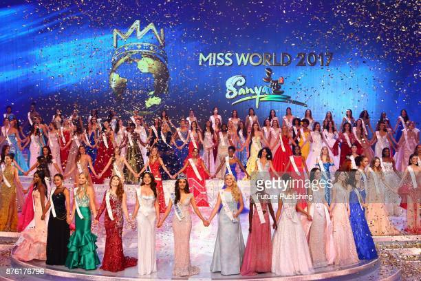 Contestants celebrate the conclusion of Miss World 2017 in Sanya in south China's Hainan province Saturday Nov 18 2017 Manushi Chhillar of India the...