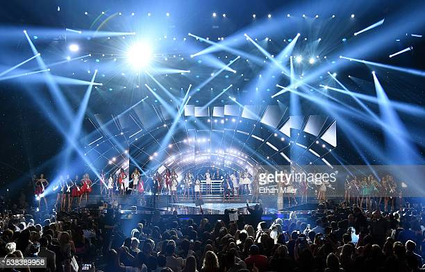 Contestants compete during the 2016 Miss USA pageant at TMobile Arena on June 5 2016 in Las Vegas Nevada