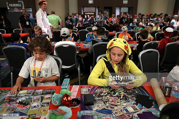 Contestants compete during the 2016 Pokemon World Championships on August 19 2016 in San Francisco California Over 1600 contestants from more than 30...