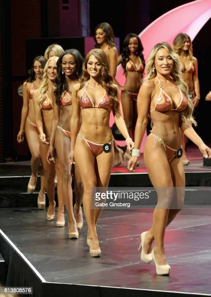 Contestants compete during the 21st annual Hooters International Swimsuit Pageant at The Pearl concert theater at Palms Casino Resort on July 12 2017...