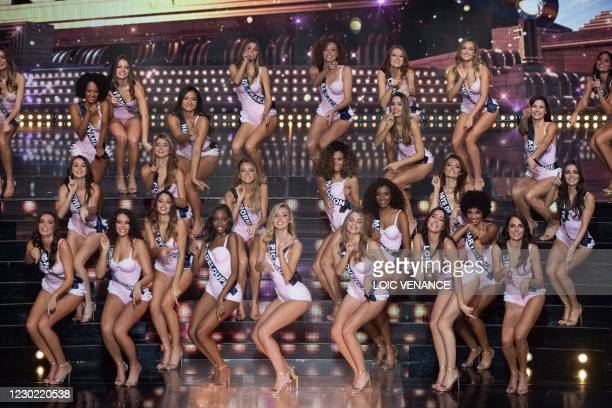Contestants compete during the Miss France 2021 beauty contest at the Puy-du-Fou, in Les Epesses, western France, on December 20, 2020. - Miss...
