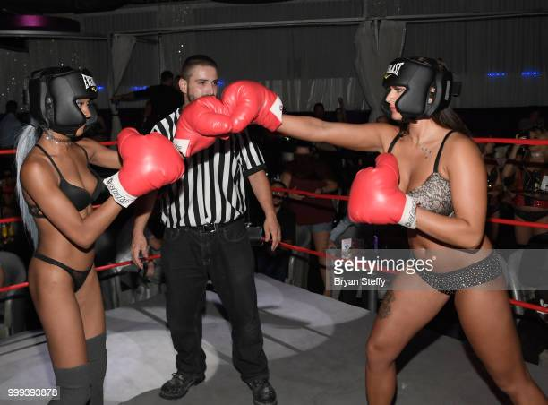 "Contestants compete in ""Foxy Boxing"" during Larry Flynt's Hustler Club Instagram party hosted by Jessica Weaver at Larry Flynt's Hustler Club on July..."