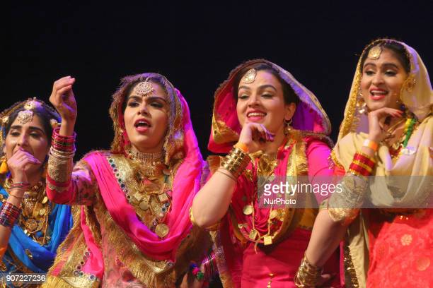 Contestants compete in the Giddha folk dance segment during the Miss World Punjaban beauty pageant held in Mississauga Ontario Canada on 11 November...