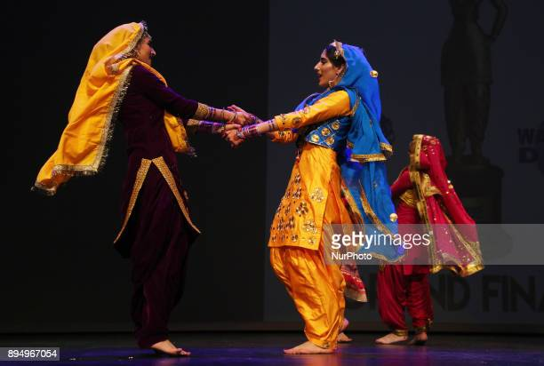 Contestants compete in the traditional Giddha folk dance segment during the Miss World Punjaban beauty pageant held in Mississauga Ontario Canada on...