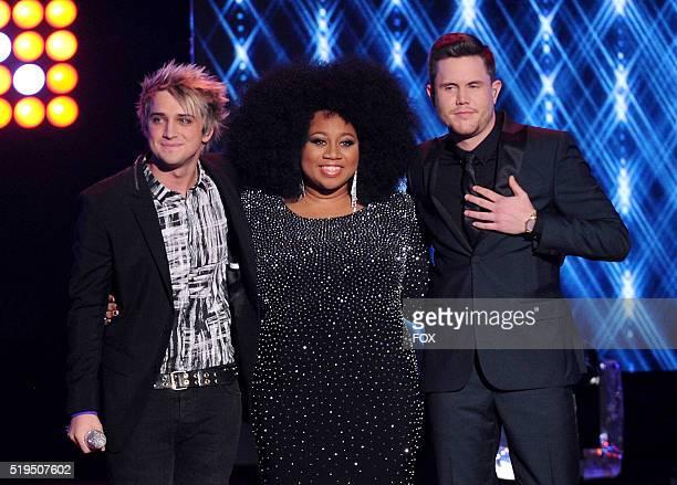 Contestants Dalton Rapattoni, La' Porsha Renae and Trent Harmon speak onstage at FOX's American Idol Season 15 on April 6, 2016 at the Dolby Theatre...