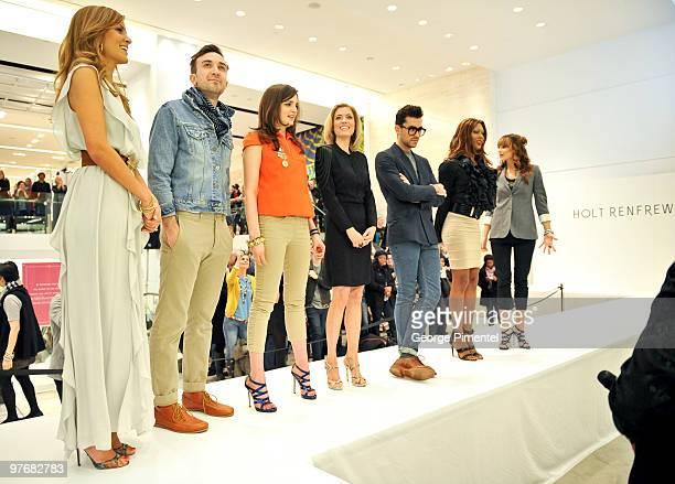 Contestants Dina Pugliese Christopher Sherman Amy Verner Ciara Hunt Dan Levy Sofanda Cox and Kim D'Eon attend Miss J Alexander's celebrity walkoff...