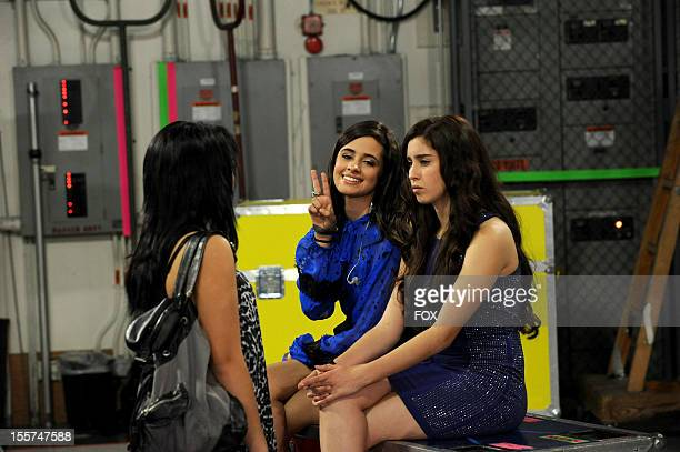 Contestants Fifth Harmony and Jennel Garcia backstage at FOX's 'The X Factor' Season 2 Top 12 Live Performance Show on November 7 2012 in Hollywood...
