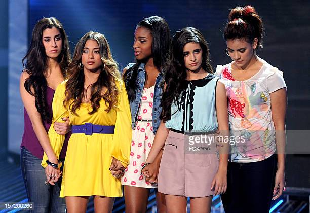 Contestants Fifth Harmony onstage at FOX's 'The X Factor' Season 2 Top 8 to 6 Live Elimination Show on November 29 2012 in Hollywood California