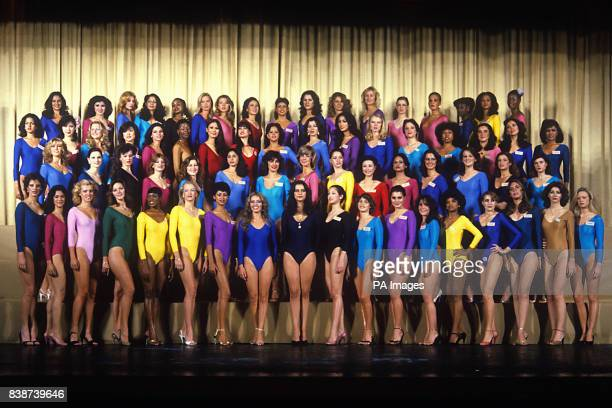Contestants for Miss World 1980 lining up at the Empire Ballroom Leicester Square London Misses Puerto Rico Singapore Spain Sri Lanka Swaziland...