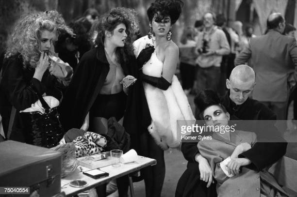 Contestants getting ready backstage for the Alternative Miss World Competition at Olympia 1981