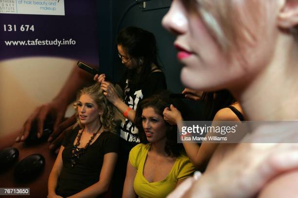 Contestants have hair and makeup applied backstage at Miss Earth Australia contest at the Enmore Theatre September 13 2007 in Sydney Australia...