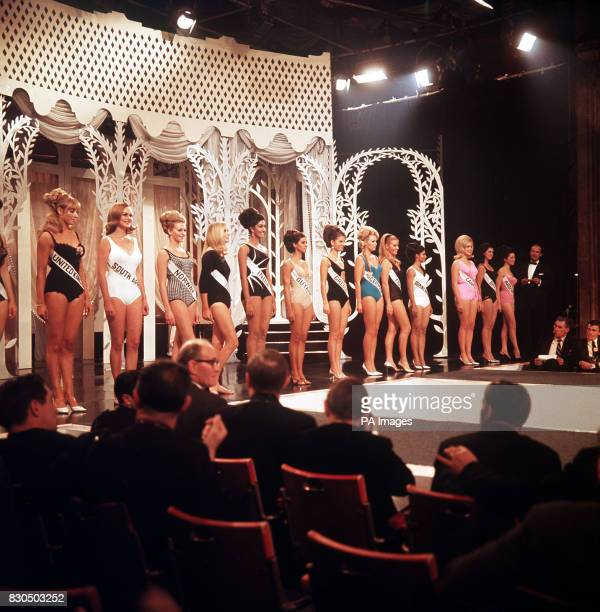 Contestants in the 1966 Miss World Final on stage in London. Miss India , Reita Faria, went on to win the competition. She used her prize money to...