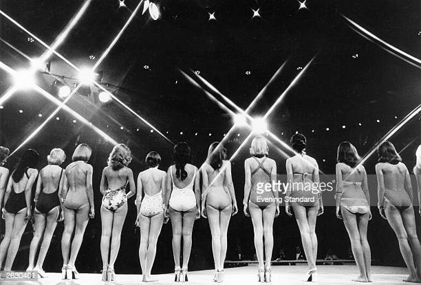 Contestants in the 1973 Miss World Contest line up during one of the elimination rounds