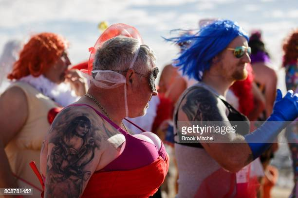 Contestants in the Bashville Drags wait for the start of a short run through the desert The event raises funds for the Royal Flying Doctors service...