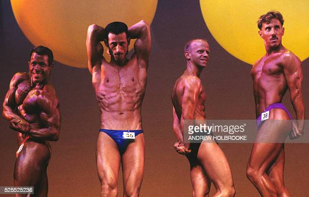 Contestants in the bodybuilding finals at the Gay Games in New York City