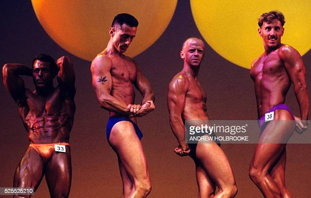 Contestants in the bodybuilding finals of the Gay Games in New York City