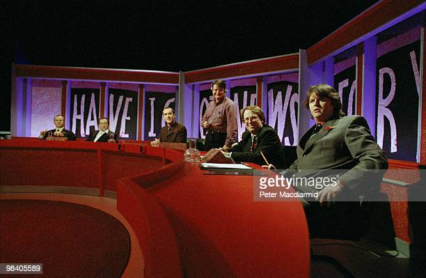 Contestants in the British television panel show 'Have I Got News For You' 5th November 1998 From left to right Ian Hislop Jackie Mason Angus Deayton...