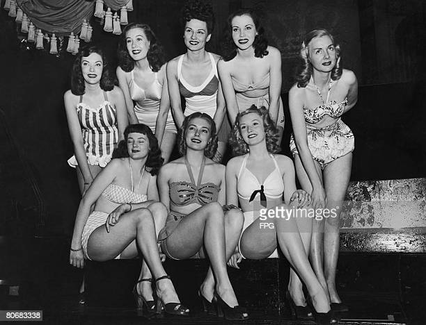 Contestants in the Miss Photo Carnival pageant held to highlight the three day photographic carnival in New York. Back row, left to right, Louise...