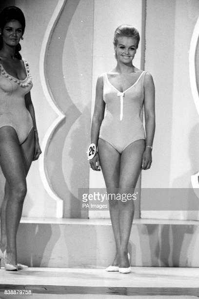 Contestants in the Miss United Kingdom 1968 competition. Left, Miss Glasgow, Marie Smith and No.26, Miss Nantwich, Yvonne Ormes.