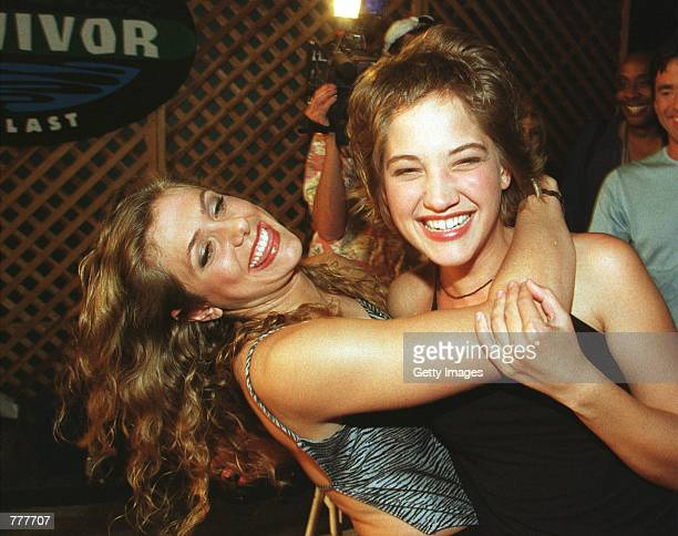 Contestants Jenna Lewis and Colleen Haskell arrive for the Survivor The Reunion party at the CBS studios August 23 2000 in Los Angeles CA Lewis and...