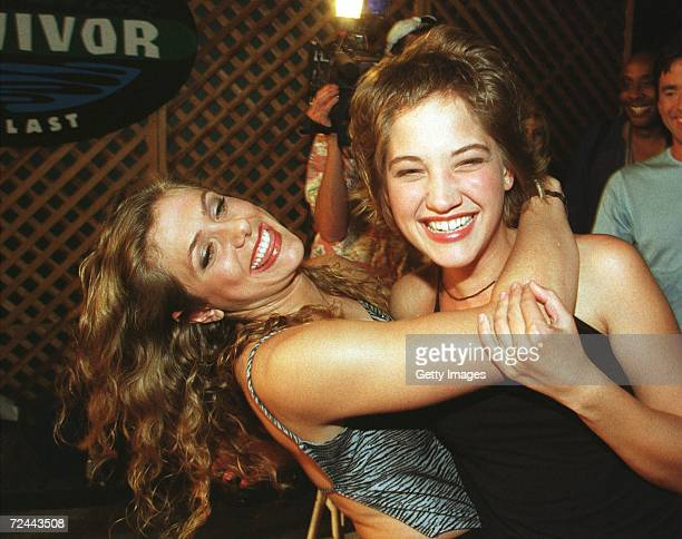Contestants Jenna Lewis left and Colleen Haskell arrive for the Survivor The Reunion party August 23 2000 at the CBS studios in Los Angeles Ca They...
