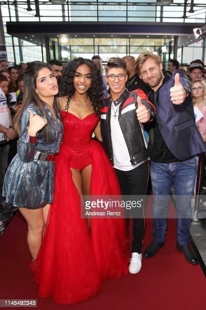 Contestants Joana Kesenci AliciaAwa Beissert Davin Herbrueggen and Nick Ferretti attend the season 16 finals of the tv competition show Deutschland...