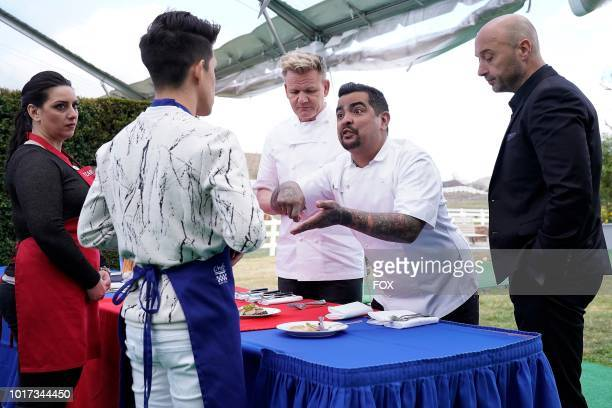 Contestants Juni and Julia and judges Gordon Ramsay Aarón Sánchez and Joe Bastianich in the A Gordon Ramsay Wedding episode of MASTERCHEF airing...