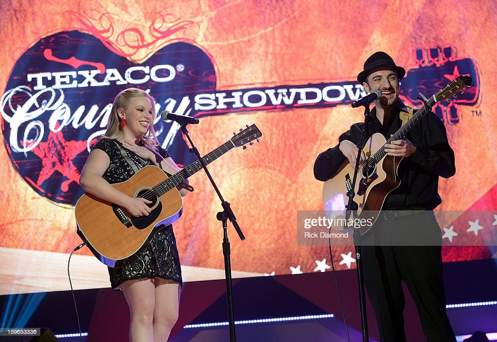Contestants Kate and Corey perform at the 31st annual Texaco Country Showdown National final at the Ryman Auditorium on January 17, 2013 in Nashville, Tennessee.