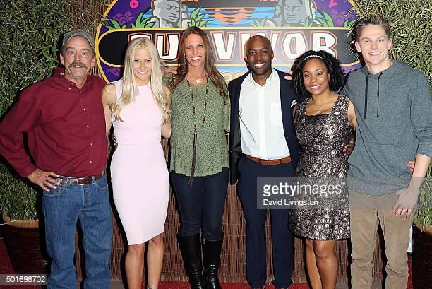 Contestants Keith Nale Kelley Wentworth Kimmi Kappenberg Jeremy Collins Latasha Tasha Fox and Spencer Bledsoe attend CBS's Survivor Cambodia Second...