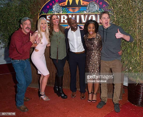 Contestants Keith Nale Kelley Wentworth Kimmi Kappenberg Jeremy Collins Latasha 'Tasha' Fox and Spencer Bledsoe attends CBS's Survivor Cambodia...