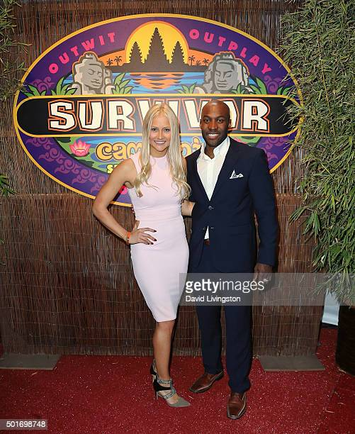 Contestants Kelley Wentworth and Jeremy Collins attend CBS's Survivor Cambodia Second Chance photo op at CBS Television City on December 16 2015 in...