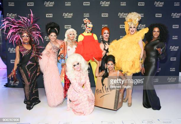 Contestants Kennedy Davenport BenDeLaCreme Aja Trixie Mattel Milk Shagela Morgan McMichaels Thorgy Thor and Chi Chi DeVayne attend RuPaul's Drag Race...