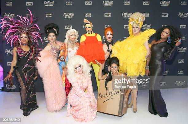 Contestants Kennedy Davenport BenDeLaCreme Aja Trixie Mattel Milk Shagela Morgan McMichaels Thorgy Thor and Chi Chi DeVayne attend 'RuPaul's Drag...