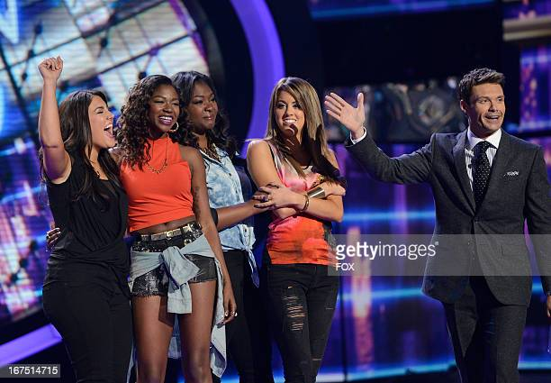 Contestants Kree Harrison Amber Holcomb Candice Glover Angie Miller and host Ryan Seacrest onstage at FOX's American Idol Season 12 Top 4 to 3 Live...