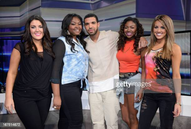 Contestants Kree Harrison and Candice Glover Drake and contestants Amber Holcomb and Angie Miller onstage at FOX's American Idol Season 12 Top 4 to 3...