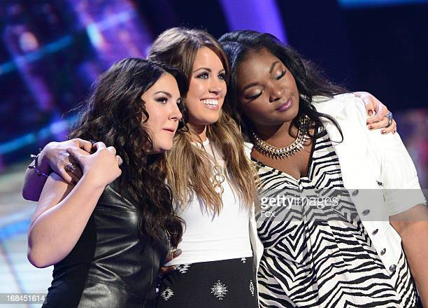 Contestants Kree Harrison Angie Miller and Candice Glover onstage at FOX's American Idol Season 12 Top 3 to 2 Live Elimination Show on May 9 2013 in...
