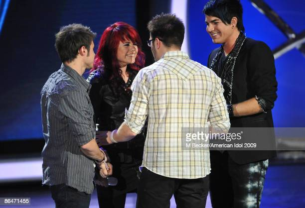 ACCESS*** Contestants Kris Allen Allison Iraheta Adam Lambert and Danny Gokey live on the American Idol Season 8 Top 4 Elimination Show on May 6 2009...