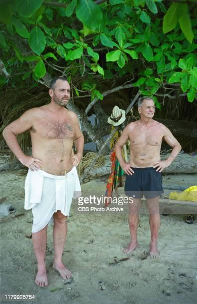 SURVIVOR contestants left to right Richard Hatch and Rudy Boesch a 72yearold retired Navy SEAL from Virginia Beach on Pulau Tiga Malaysia Survivor a...