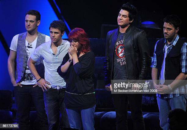 ACCESS*** Contestants Matt Giraud Kris Allen Allison Iraheta Adam Lambert and Danny Gokey live on the American Idol Season 8 Top 7 Elimination Show...