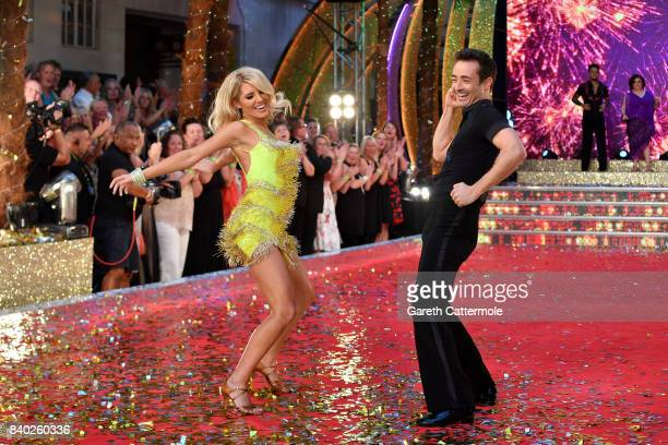 Contestants Mollie King and Joe McFadden attend the 'Strictly Come Dancing 2017' red carpet launch at The Piazza on August 28 2017 in London England