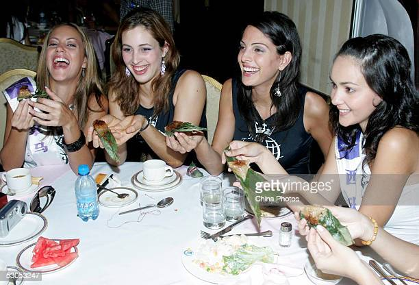 Contestants of 2005 Miss Tourism Queen International Ana Isabel Ibanez from Panama Marlene Politi Lerete from Uruguay Antigone Petrou from Cyprus and...