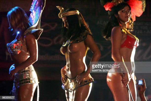 Contestants of Miss Cafe con Piernas' semifinal walk the catwalk at a private club in Santiago, Chile, 25 November 2005. Candidates from different...