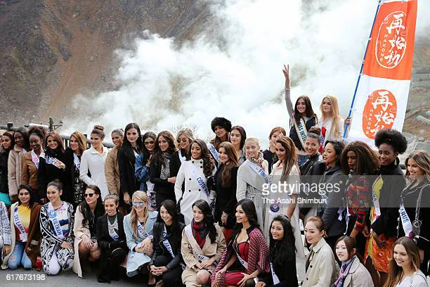 Contestants of Miss International Beauty Pageant 2016 pose for photographs at Owakudani on October 24 2016 in Hakone Kanagawa Japan The 56th Miss...