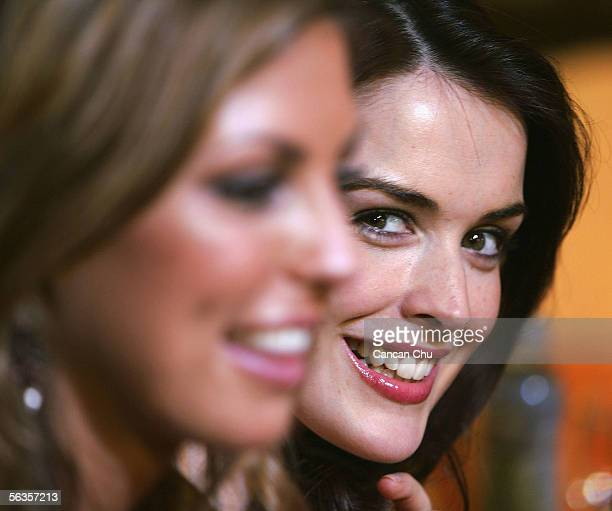 Contestants of the 55th Miss World 2005 Aisling Friel of Scotland and Aoife Cogan of Ireland attend a dinner party after the Beachwear Final at the...
