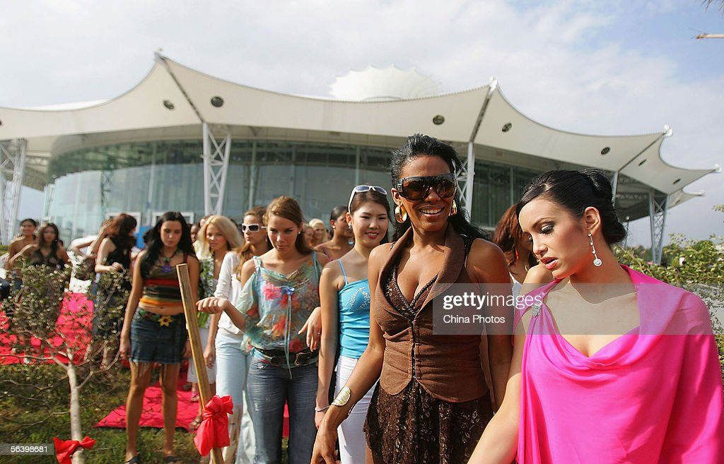 Contestants of the 55th Miss World 2005 attend a tree planting event at the Beauty Crown Centre on December 9, 2005 in Sanya, Hainan Island of China. The final of Miss World 2005 will be held in Sanya on December 10.