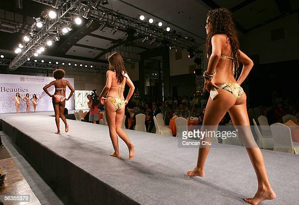 Contestants of the 55th Miss World 2005 compete during the Beachwear Final at the Sheraton Sanya Resort on December 6 2005 in Sanya Hainan Island of...