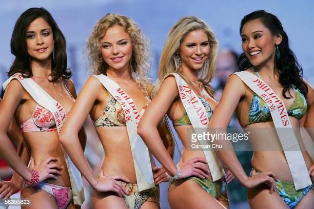 Contestants of the 55th Miss World 2005 Dafne Molina Lona of Mexico Irina Dolovova of Moldova Kay Margaret Anderson of New Zealand Carlene Aguilar of...