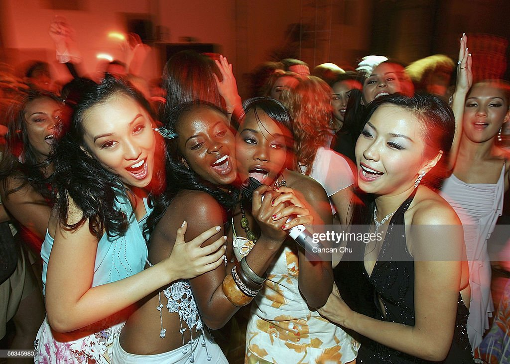 Contestants of the 55th Miss World 2005 dance during a party after the Beachwear Final at the Sheraton Sanya Resort on December 6, 2005 in Sanya, Hainan Island of China. The final of Miss World 2005 will be held in Sanya on December 10.