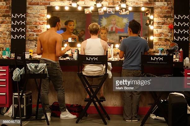 Contestants on RuPaul's Drag Race prepare their makeup and hair while taping episodes for the new season in Culver City JULY 31, 2009. The television...